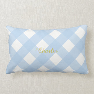 Gingham Personalized Blue Lumbar Pillow Cushion