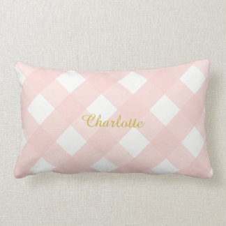 Gingham Personalized Pink Lumbar Pillow Cushion