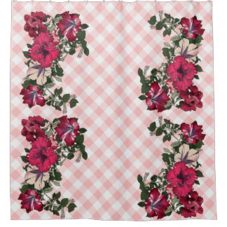 Gingham Pink Background with Ruffled Petunias Shower Curtain