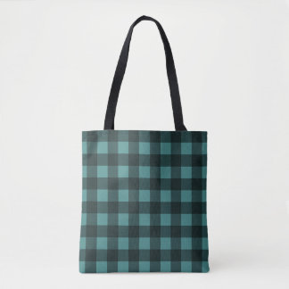 Gingham Plaid Black and Turquoise Pattern Tote Bag