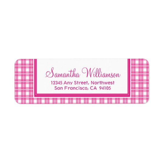 Gingham Plaid Return Address Labels (fuchsia)