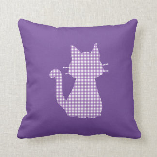 Gingham Purple Cat Silhouette Cushion