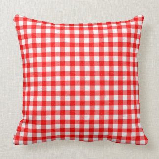 Gingham Red and White Pattern Cotton Throw Pillow