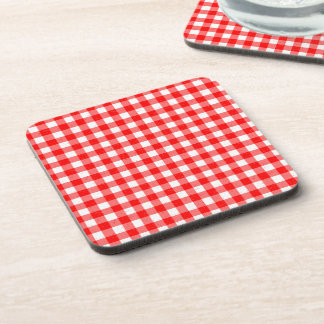 Gingham Red and White Pattern Drinks Coasters