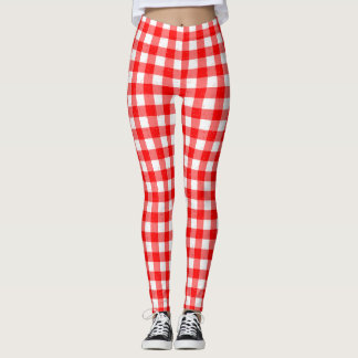 Gingham Red and White Pattern Leggings