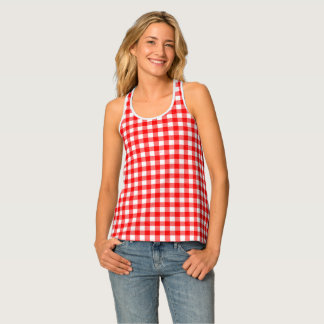 Gingham Red and White Pattern Racerback Tank Top