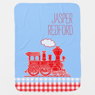 Gingham red blue boys name train baby blanket