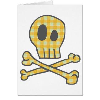 Gingham Skull & Bones - Yellow Greeting Card