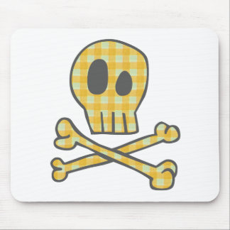 Gingham Skull Bones - Yellow Mouse Pads