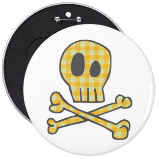 Gingham Skull Bones - Yellow Pins