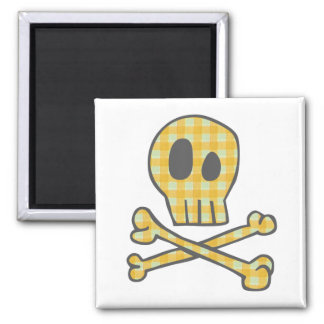 Gingham Skull Bones - Yellow Refrigerator Magnets