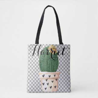 Gingham Tote Bag with Cactus pot Customisable
