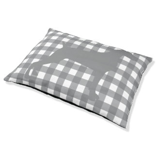 GINGHAM WEIMARANER TAUPE SIL OUTDOOR DOG BED
