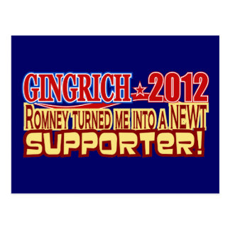Gingrich President 2012 Turned Into Newt Design Postcard