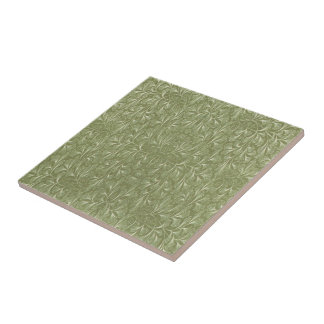 Ginkgo biloba Leaves on Sage Green Small Square Tile