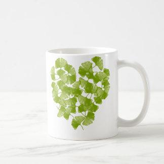 Ginkgo Leaf Heart Coffee Mugs