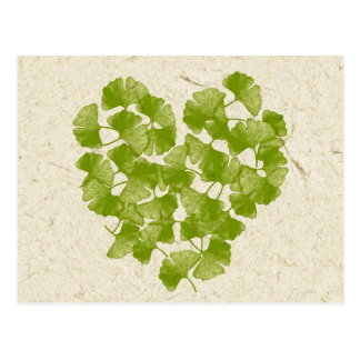 Ginkgo Leaf Heart Postcard