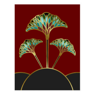 Ginkgo Leaves Art Deco Postcard