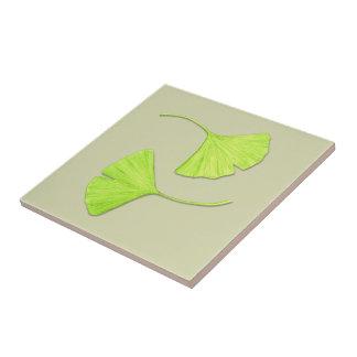 Ginkgo Leaves Nature Art Tile | Customizable Color