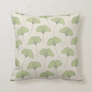 Ginkgo Tree Leaf Pattern Green on Canvas Look Cushion