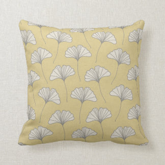 Ginkgo Tree Leaf Pattern Yellow Grey and Cream Throw Pillow