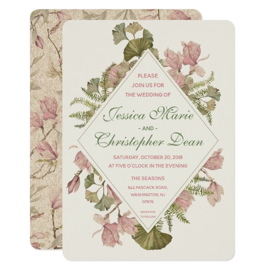 Ginkgo Watercolor Floral Wedding Invitation