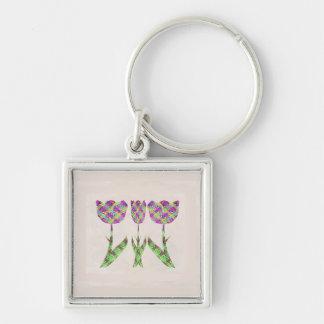 GINNILAW Fine Artworks - Diamond Pattern Flowers Key Chain