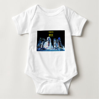 Ginza district in Tokyo, Japan at night Baby Bodysuit