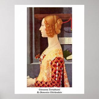 Giovanna Tornabuoni By Domenico Ghirlandaio Poster