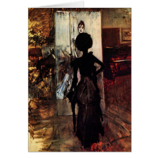 Giovanni Boldini - Woman in front of the painting Card