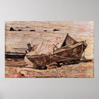 Giovanni Fattori - beach with small boat Poster