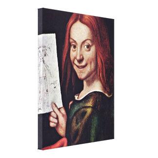 Giovanni Francesco Caroto - boy with a drawing Canvas Print