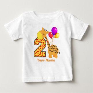 Giraffe 2nd Birthday Hearts Baby T-Shirt