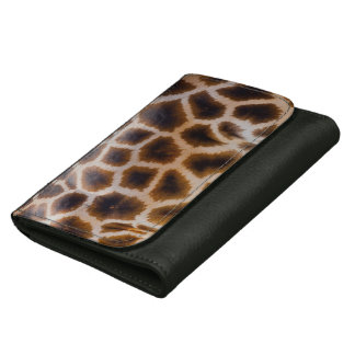 Giraffe Abstract Art Black Leather Wallet