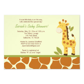 Giraffe Adventure 5x7 Baby Shower Invitation