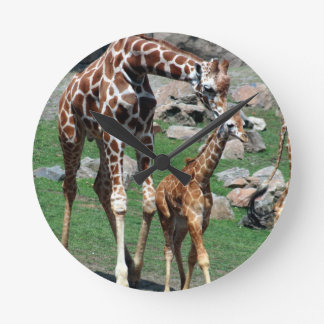 Giraffe Africa Safari Animal Personalize Giraffes Round Clock