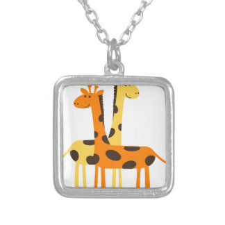 giraffe africa safari wildlife silver plated necklace