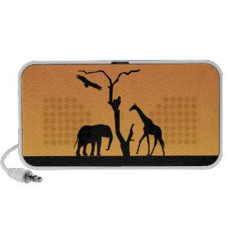 Giraffe african sunset silhouette doodle speakers