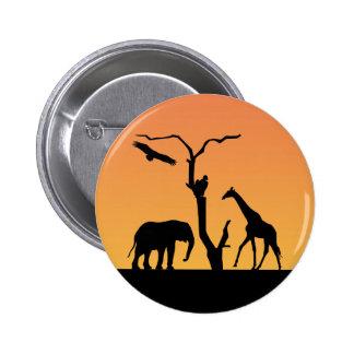 Giraffe african sunset silhouette pin, button