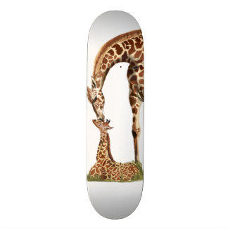 Giraffe and baby calf kissing 20.6 cm skateboard deck