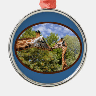 Giraffe and baby in oval frame christmas tree ornaments