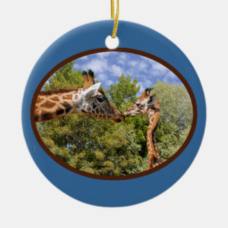 Giraffe and baby in oval frame round ceramic decoration