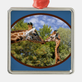 Giraffe and baby in oval frame Silver-Colored square decoration