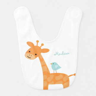 Giraffe and Blue Bird Personalized Bib