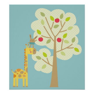 Giraffe and Bunny Poster