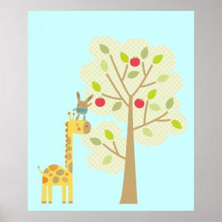 Giraffe and Bunny Poster