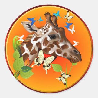 GIRAFFE and BUTTERFLIES Classic Round Sticker