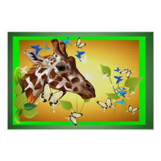 GIRAFFE and BUTTERFLIES Poster