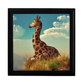 Giraffe and Distant Mountain Large Square Gift Box