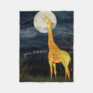 Giraffe and Moon | Custom Fleece Blanket
